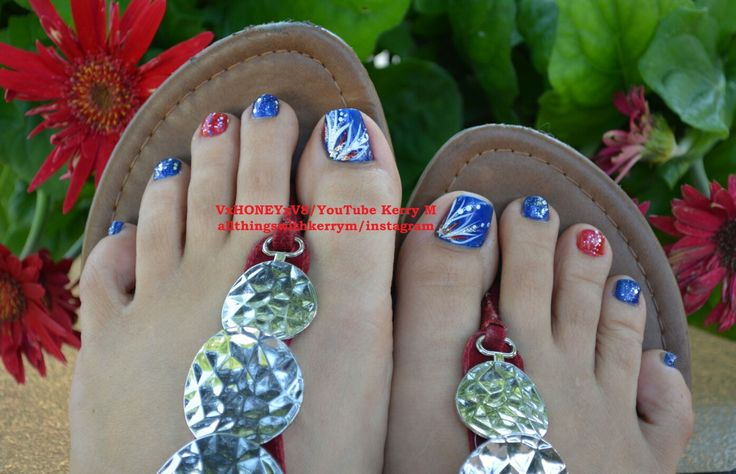 Super easy toe nail design for the Fourth of July! See the step by step instructional video on YouTube VxHONEYxV8! #4thofjuly #fourthofjuly #memorialday #veteransday #red #white #blue #stars #rhinestones #toes #toenails #summernails #uñas #america #americana #merica #usa #nailsthatgoboom #4thofjuly #fourthofjuly #memorialday #KerryM #VxHONEYxV8