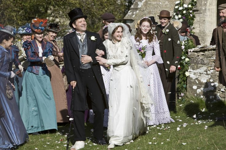 From Lark Rise to Candleford, Thomas Brown (played by Mark Heap) at the scene of Margaret and Thomas Brown's wedding. Looks like Mark had a bad injury to his foot there!