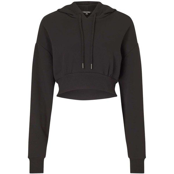 Miss Selfridge Black Cropped Hoodie ($42) ❤ liked on