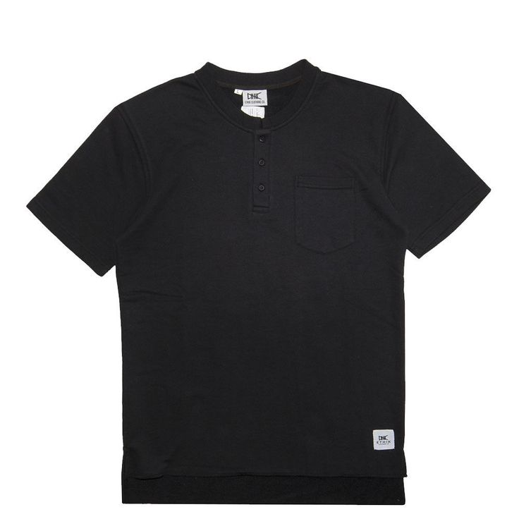 Ethik Clothing Co. Settle Henley Black French Terry With Tags Nwt