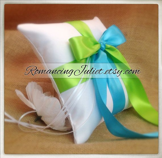 Romantic Satin Color Block Ring Bearer Pillow...You Choose the Colors...Buy One Get One Half Off...shown in white/turquoise/apple green