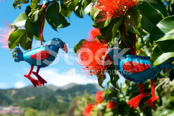 Kiwiana Christmas, A Pukeko Decoration in Pohutkawa Flowers royalty-free stock photo