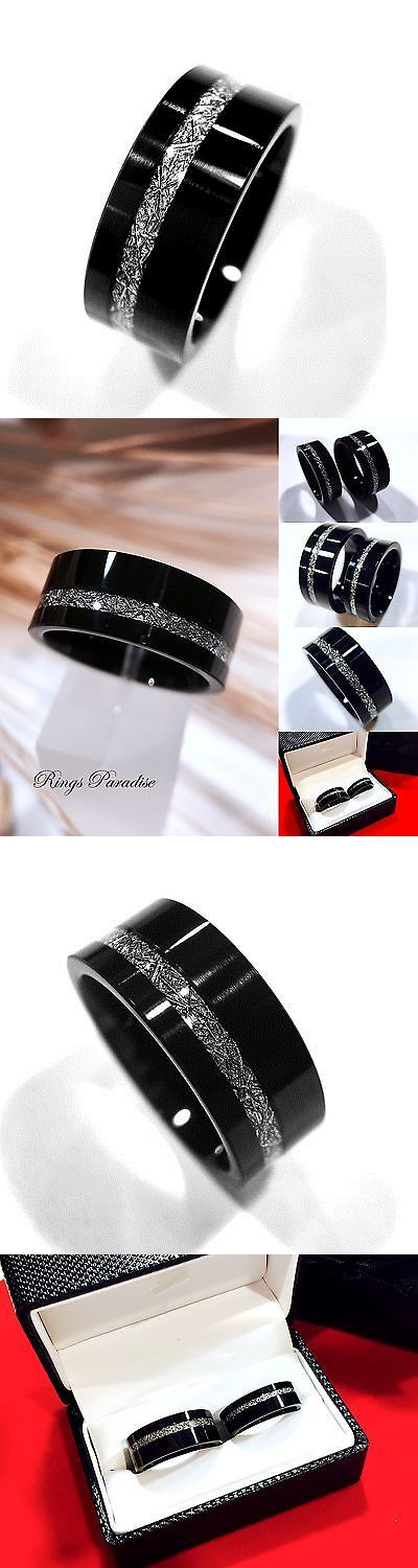 Sets without Stones 177019: Mens And Women Black Tungsten Wedding Bands, Meteorite Inlay Rings 6Mmand9mm Rings BUY IT NOW ONLY: $220.0