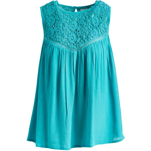 Jennifer & Grace Aqua Lace-Accent Swing Top ($19) ❤ liked on Polyvore featuring tops, swing top, long sleeveless tops, woven top, blue top and lace sleeveless top