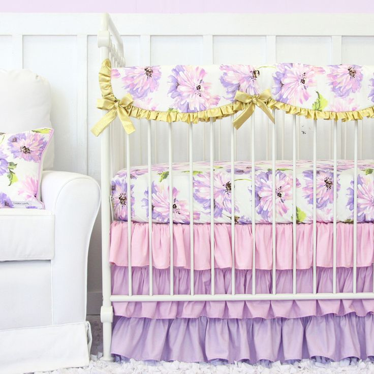 Caden Lane | Crib Sheet | Purple Petunia Ruffle Crib Baby Bedding Set