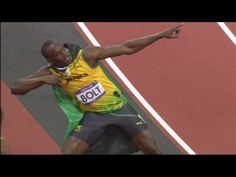 "Athletics Men's 100m Final Full Replay - London 2012 Olympic Games - Usain Bolt. Like any clothing brand or company Bolt has own ""move"" or sign that has made him recognizable anywhere. Thanks to video and media coverage of the Olympics around the world people have associated him with his little move he does every time he wins a race."