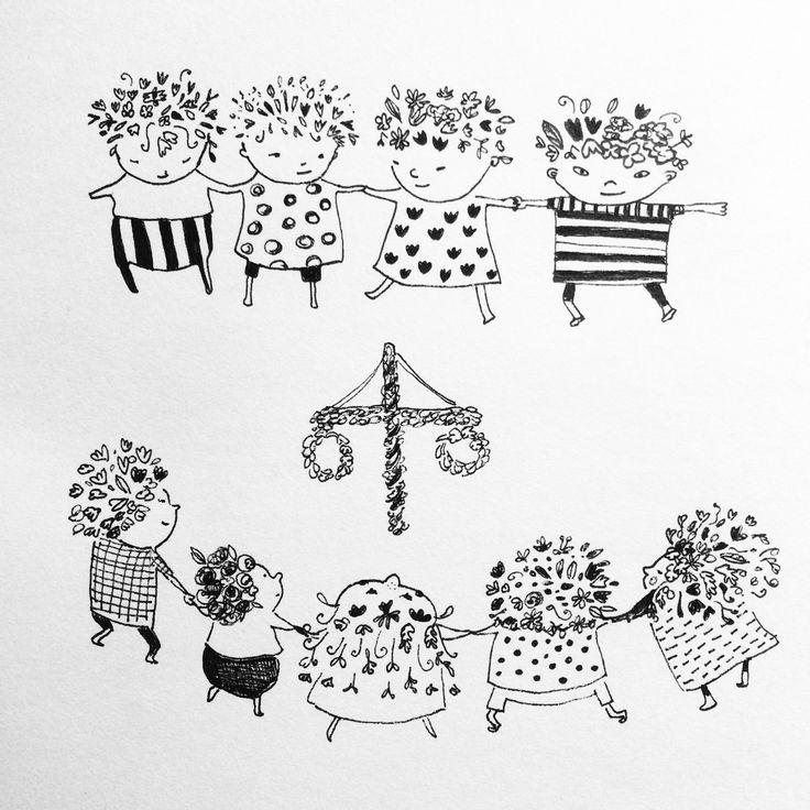 Glad midsommar! Happy midsummer! From my sketchbook