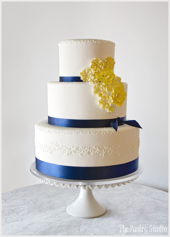 Navy & Yellow {Preppy-Chic} Wedding Cake By: The Pastry Studio
