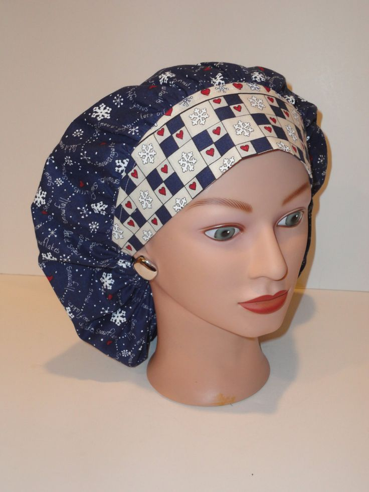 Perfect sized Bouffant Scrub Cap...Navy...Snowflakes...Hearts...Let it Snow...OR Scrub Caps/Surgical Scrub Caps by TwoSew on Etsy