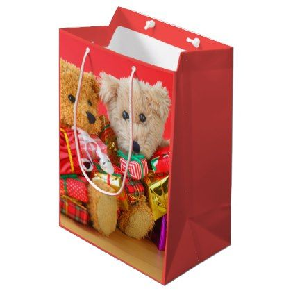 Two teddy bears with Christmas presents Medium Gift Bag - animal gift ideas animals and pets diy customize