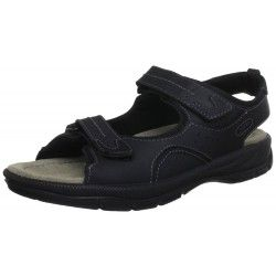 Men's sandals anatomically in brown and black color. Leather with contoured sole and Velcro front and koutepie. Fixed comfortable and highly durable construction. Available in large sizes from Jomos. Final Price: €68,00