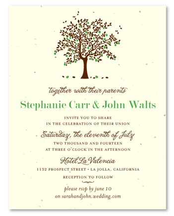 Apple Tree Wedding Invitations With Green Apple