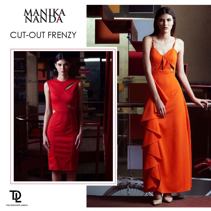 Cut-out dresses by Manika Nanda #India #Fashion #Indianfashion #Indiandesigner #maxidress #reddress #orangedress