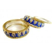 Neel rang Lac bangle (Royal blue) 2set of 3