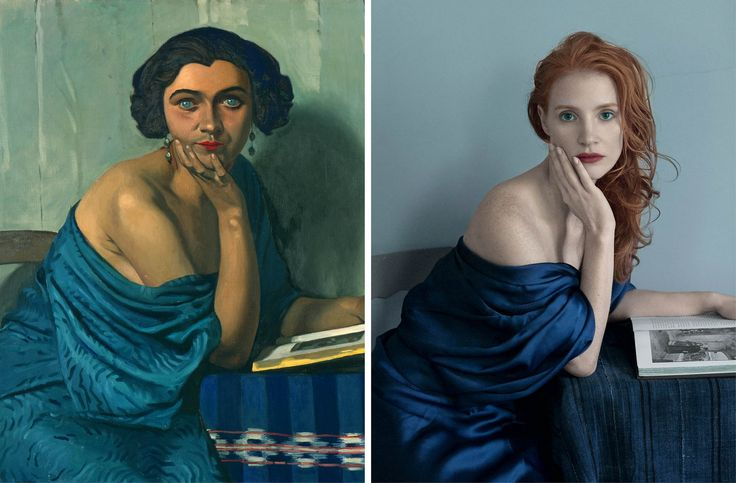 """Jessica Chastain fotografiada por Annie Leibovitz para la edición de VOGUE de diciembre del año 2013. En la imagen, recreando """"Le Retour de la Mer"""" (1924) de Félix Vallotton."""
