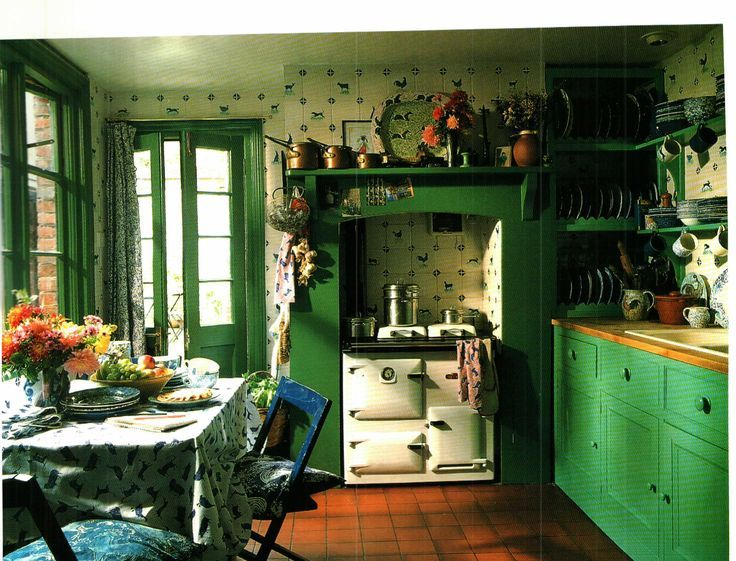 Wonderful English Green Country Kitchen With An AGA
