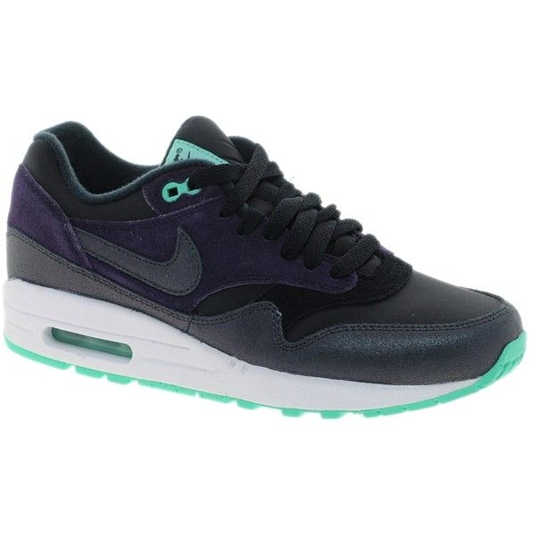 Nike Air Max 1 Essential Purple Trainers ($93) ❤ liked on Polyvore featuring shoes, sneakers, nike, purple, purple shoes, rubber shoes, wedge trainers and purple wedge shoes