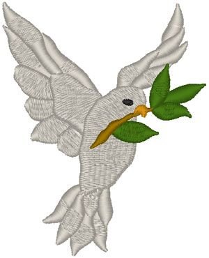 White Dove with Olive Branch Embroidery Design. The international symbol of peace: A white dove with an olive branch.