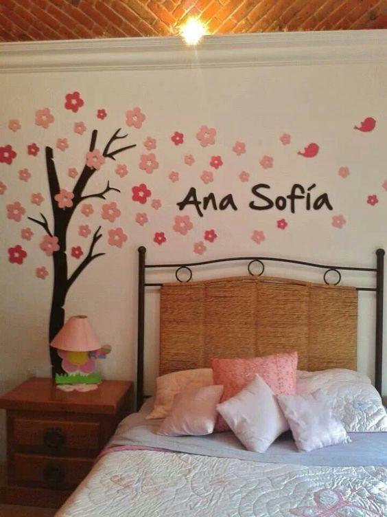 Cuarto de ninas dibujos para pared pinterest cuarto - Paredes para ninos ...