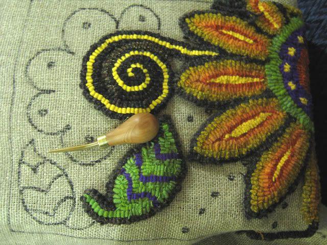 Sassy Sunflower Hooked Rug in Progress