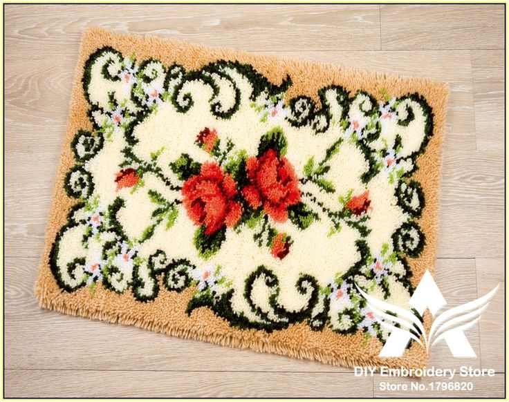 Find More Cushion Information about 3D Latch Hook Rug Kits DIY Needlework Unfinished Crocheting Rug Yarn Cushion Mat Red Flowers Embroidery Carpet Rug Needlework,High Quality Cushion from DIY embroidery store on Aliexpress.com