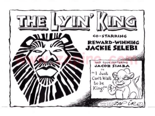 Zapiro -  The LYIN' KING and Jacob Simba published in Mail & Guardian on 11 Oct 2007