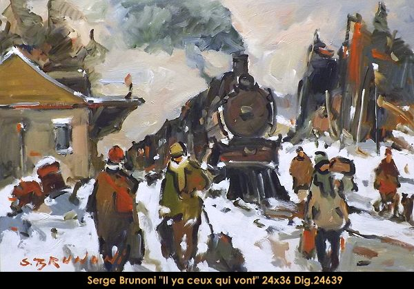 Original acrylic painting on canevas by Serge Brunoni  new BOOK available october 19,2014 #sergebrunoni #art #artist #canadianartist #quebecartist #originalpainting #fineart #figurativeart #acrylicpainting #winterscene #trainstation #balcondart #multiartltee