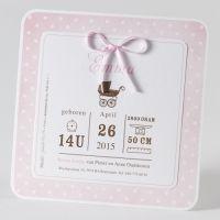 Vierkante meisjeskaart met kinderwagen en bolletjesmotief (584.017)
