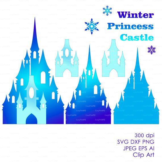 Princess winter snow frozen castle 300 dpi (svg, dxf, jpg, ai, eps, png) vector Clip Art Cutting file, cut Silhouette Cameo EasyCutPrintPD