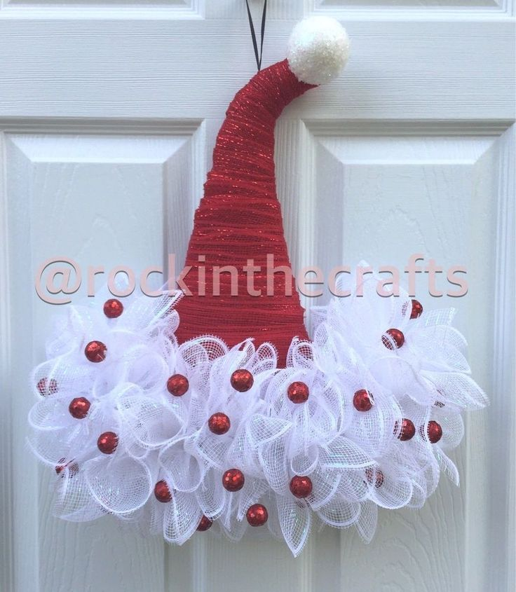 Handcrafted Santa Hat Mesh Wreath for sale! Red Santa hat with a white brim. Red glitter balls on the brim. | eBay!