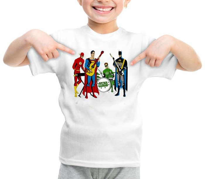 Justice League Rock Band graphic printed youth toddler tshirt