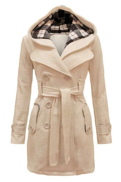 Beige Double Breasted Hooided Casual Outerwear