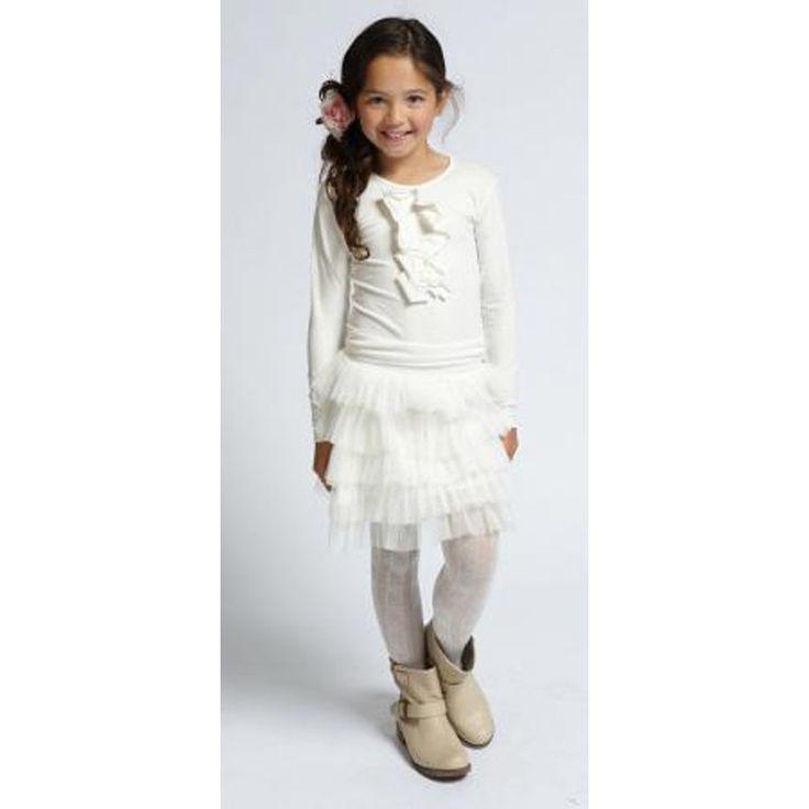 Pom Pom Tule Rok Off White bij Minimoda. #Meisjeskleding #Kinderkleding #Meisjes