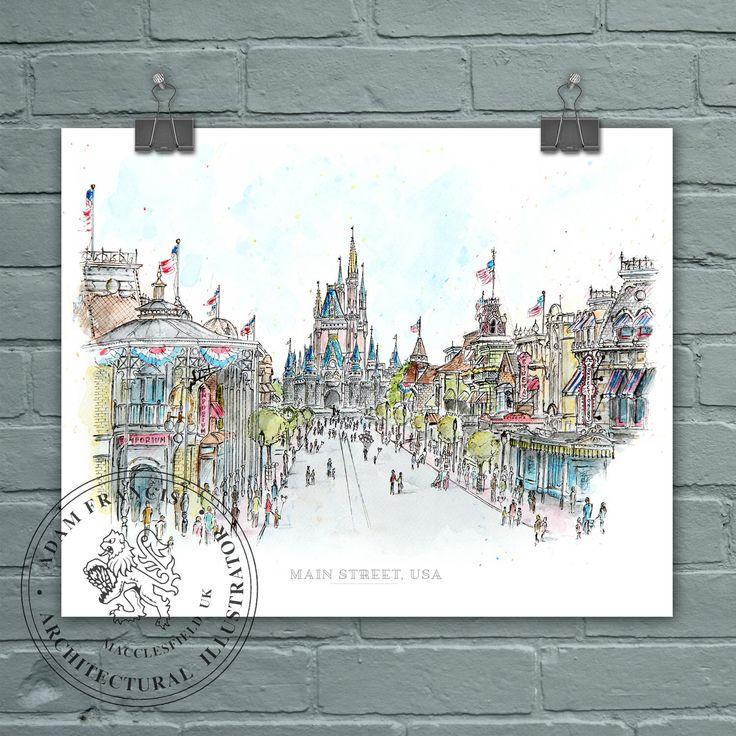 Main Street USA, Disney World. Art prints taken from my pen drawing & watercolour painting. Magic Kingdom drawing, Main St Disney. by adamfschofield on Etsy https://www.etsy.com/listing/473313737/main-street-usa-disney-world-art-prints