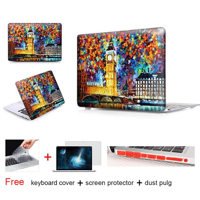 BIG BEN LONDON Oil painting Cover Case For Macbook Pro 13 Retina 15 New Mac Macbook Air 11 12 13.3 Inch Hard Protective Shell
