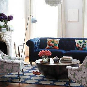 curtains and curtain rods for front room pop of color blue with couch or chair maybe one chair blue velvet and the other leather