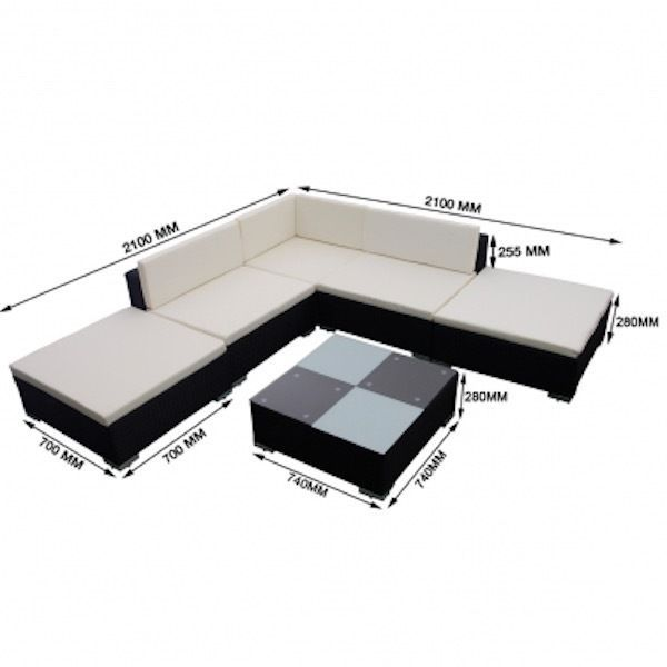 Sofa Bed Sales Furniture Corner Ottoman Sun Lounger Patio Rattan w/Coffee Table