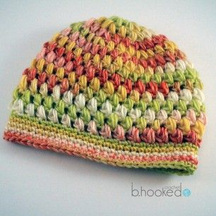 Puff Stitch Hat - Free crochet written pattern plus video by B.hooked Crochet. Aran weight yarn.