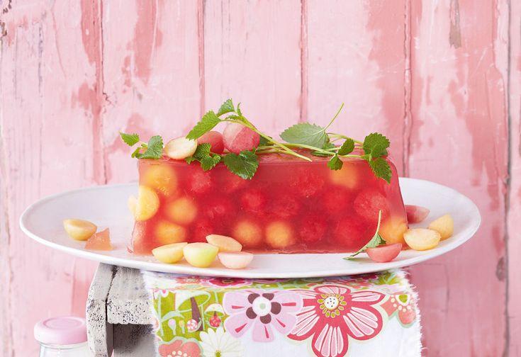 Melonengelee mit Vanille-Kokossauce