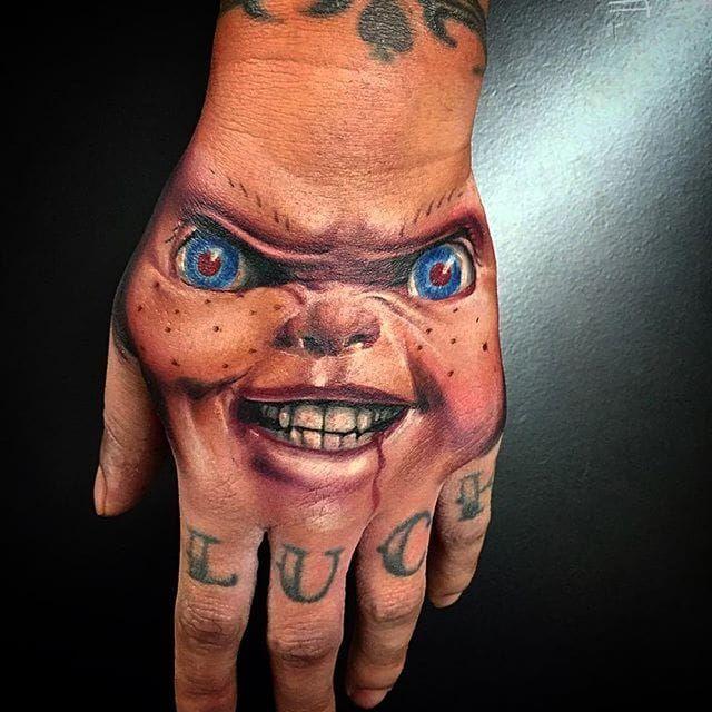 The look of evil. Chucky tattoo by Wes Hogan. #Chucky # ...