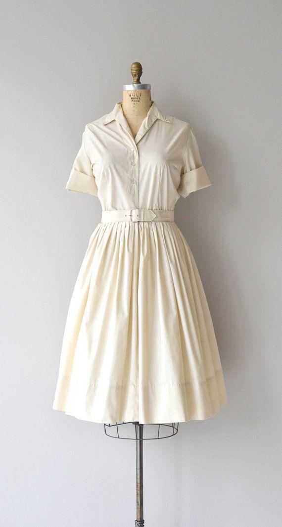 Sweet Cream dress vintage 1950s dress cotton 50s by DearGolden