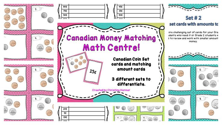 Canadian Money Matching Game  http://www.teacherspayteachers.com/Product/Make-a-Match-CANADIAN-coin-matching-game-for-Math-Centres-1183662
