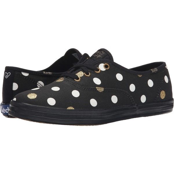 Keds Taylor Swift's Champion Glitter Dot Women's Lace up casual Shoes,... ($48) ❤ liked on Polyvore featuring shoes, sneakers, black, lace up shoes, keds shoes, black lace up shoes, black shoes and polka dot shoes
