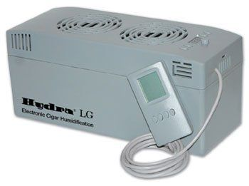 HYDRA-LG Commercial Series Electronic Humidifier by CheapHumidors. $123.99. Reports Humidity Reading Every 30 Seconds. Two Internal Fans. Audible and Visual Low Water Indicator. Large LED for Easy Viewing. HygroSet® Adjustable Technology. The Hydra® LG Commercial Series Cigar Humidifier is designed to automatically regulate the humidity inside large cabinet humidors up to 16 cubic feet in size. Add up to 3 optional external fans to extend the Hydra's humidificatio...