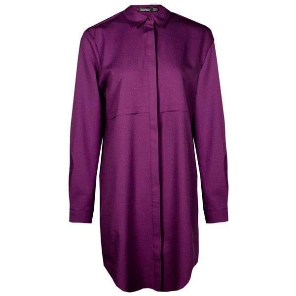 Boohoo Samia Double Placket Woven Shirt Dress | Boohoo ($21) ❤ liked on Polyvore featuring dresses, holiday dresses, long shirt dress, purple camisole, cocktail dresses and purple evening dresses