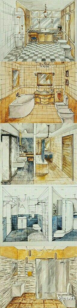 Bathrooms watercolour illustrations