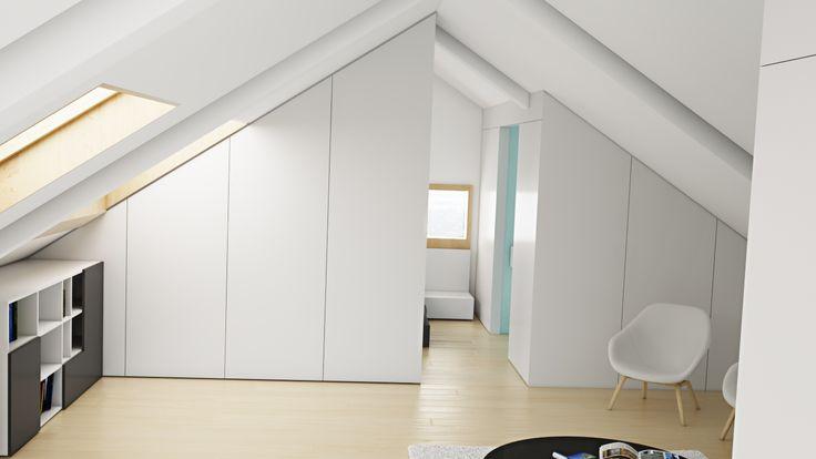 Ático Cangas / equipoeme estudio #urban #design #interiorismo #equipoeme #bajocubierta #renders #armario #salon