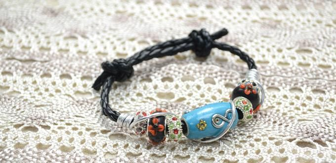 DIY Bracelet : DIY Leather Cord Bracelet with Indonesia Bead and Aluminum Wire