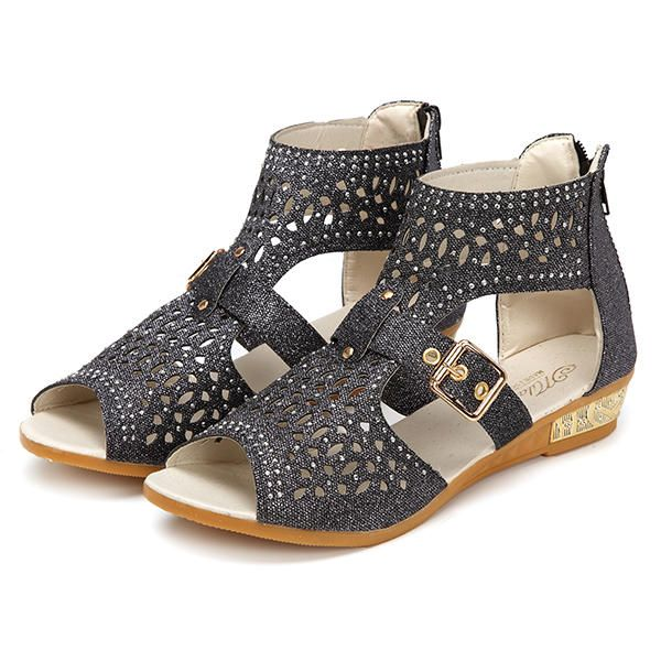 Rhinestone Hollow Out Wedges Zipper Roman Sandals - US$20.89
