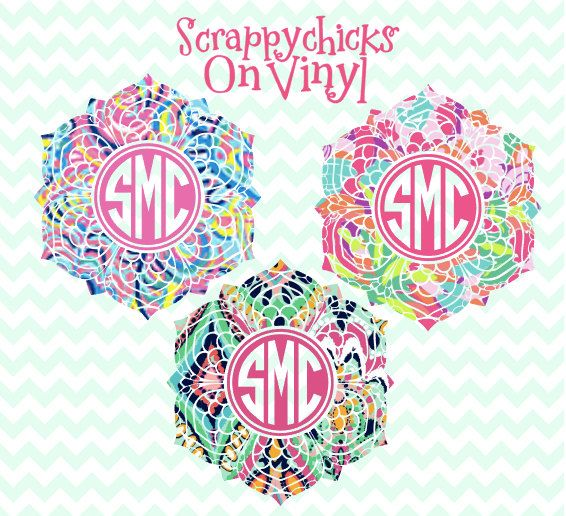 Mandala Monograms decal, Mandala patterned monogram decal , Monogrammed decal for laptop, Lace Monogrammed Decal by Scrappychicksonvinyl on Etsy